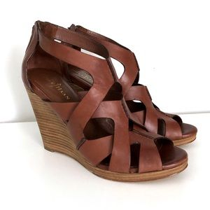 Cole Haan Air Kimry Wedge Sandal 9 B Leather Brown